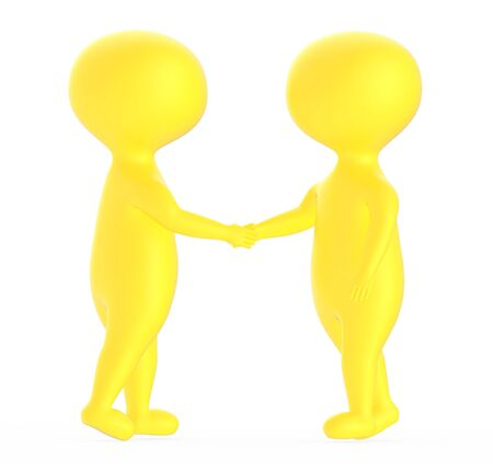 3d yellow character shake handing each other