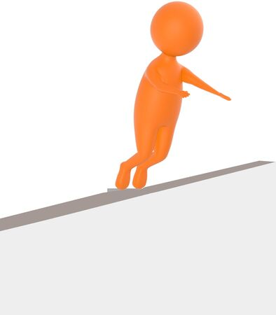 3d orange character sliped and falling down from a narrow wall - 3d rendering