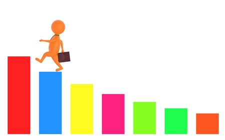 3d orange character holding a briefcase and wallking on the top of a increasng statitics bar graph -3d rendering