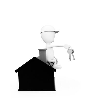 3d man wearing construction helmet and holding keys in hand while sitting on top of a miniature house concept in white isolated background , side angle view