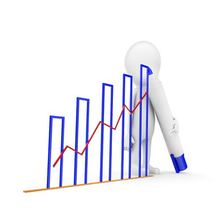 3d man draw growth graph concept on white background, side angle view Foto de archivo - 133726382