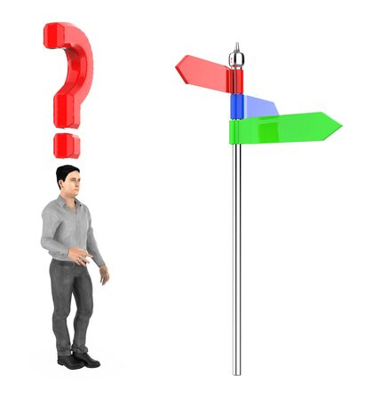 3d character , man , standing in front of a arrow sign board , question mark over his head - 3d rendering