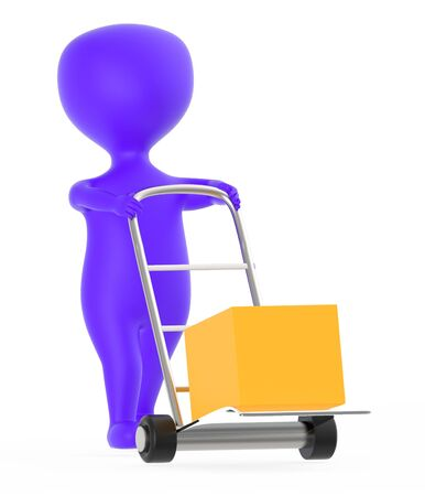 3d purple character moving a trolley with cardboard box , 3d rendering