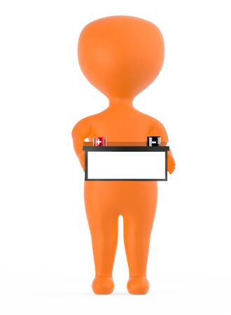 3d orange character holding a battery with red color positive and black color negative marking - 3d rendering