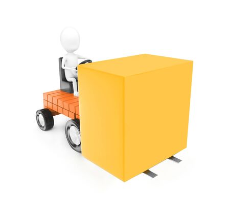 3d man driving a motor vehicle and movind large cardboad box concept in white isolated background , front angle vview Stock Photo