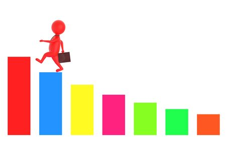 3d red character holding a briefcase and wallking on the top of a increasng statitics bar graph -3d rendering 版權商用圖片