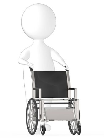 3d white character moving an empty wheel chair -3d rendering