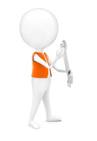 3d man wearing a orange color cloth and holding a wrench in his hands concept in white isolated background - 3d rendering , side angle view