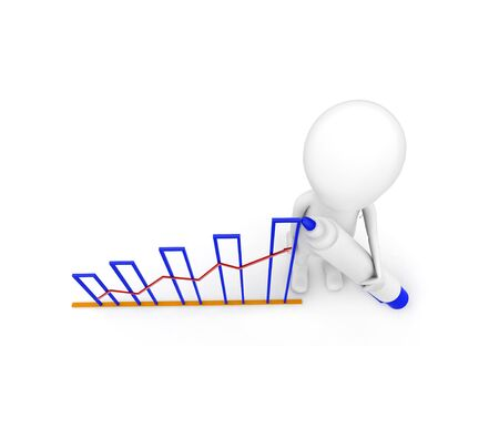 3d man draw growth graph concept on white background, top angle view