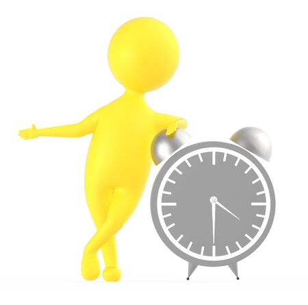 3d yellow character standing near to a large size table clock -3d rendering Foto de archivo - 133725928