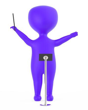 3d purple music conductor character Foto de archivo - 133725785