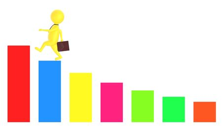 3d yellow character holding a briefcase and wallking on the top of a increasng statitics bar graph -3d rendering 版權商用圖片