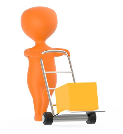 3d orange character moving a trolley with cardboard box , 3d rendering