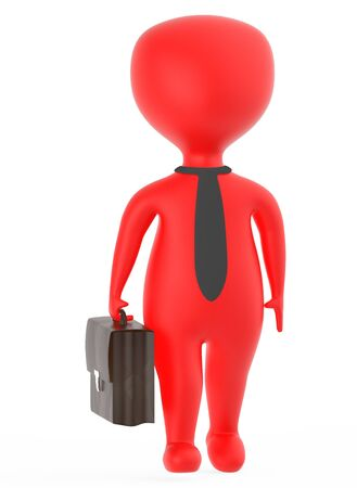 3d red business character holding a suitcase - 3d rendering