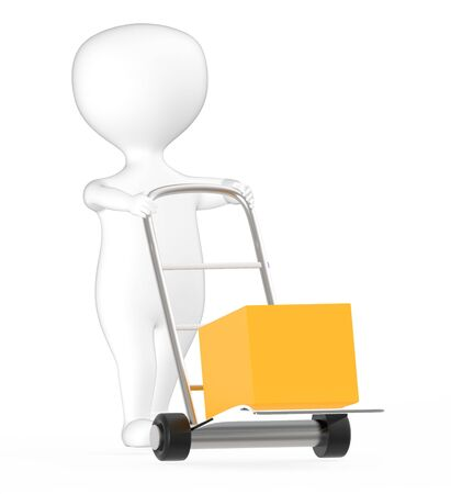 3d white character moving a trolley with cardboard box , 3d rendering