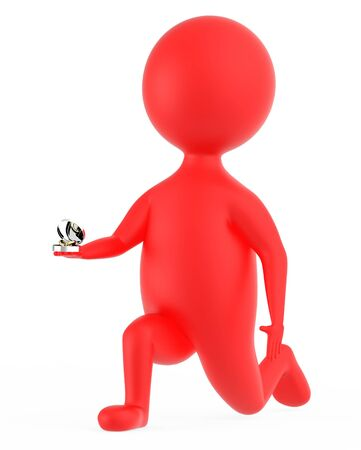 3d red character propsing with a ring isolated in white background - 3d rendering