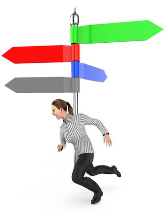 3d character , woman running , arrow direction indicating post , empty , copyspace -3d rendering