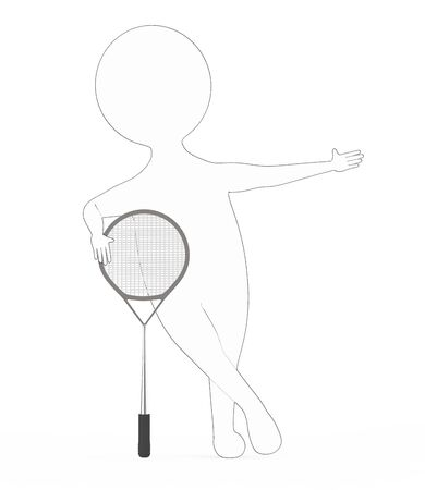 3d white - black outer lined character with a tennis bat -3d rendering Reklamní fotografie