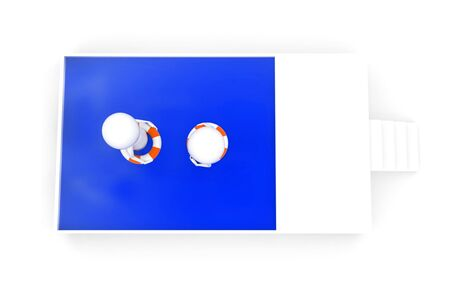 3d character floating in swimming in pool while wearing lifebouy concept on white background - 3d rendering , top angle view