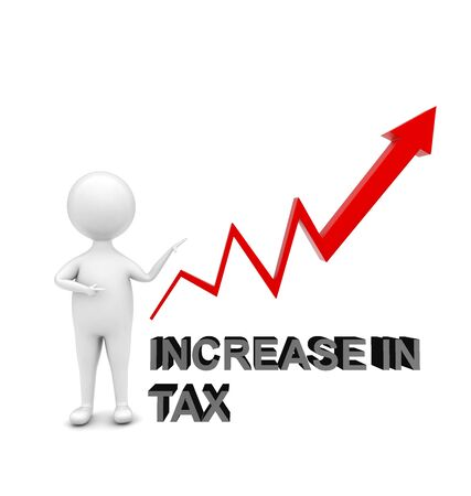 3d man standing and pointing is hand towards a upward arrow graph _ increase in tax concept , front angle view