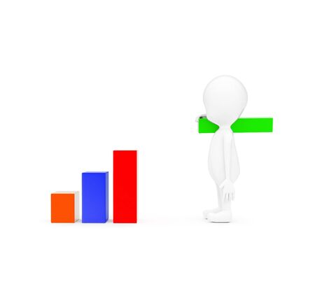 3d man building bar graph from long rectangular cubes concept on white background - 3d rendering , side angle view Banco de Imagens