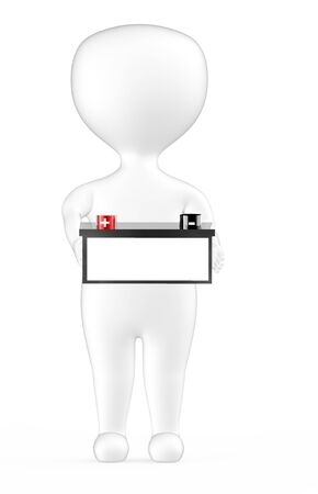 3d white character holding a battery with red color positive and black color negative marking - 3d rendering