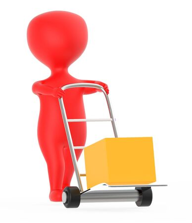 3d red character moving a trolley with cardboard box , 3d rendering
