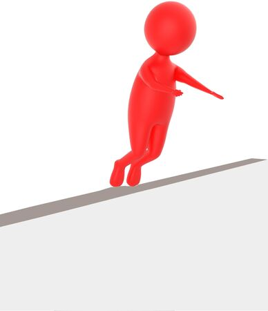 3d red character sliped and falling down from a narrow wall - 3d rendering
