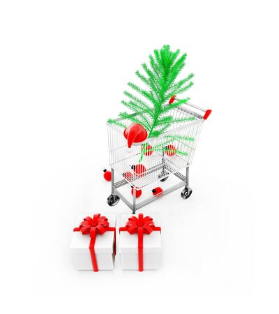 3d trolley with xmas tree , santa cap and gifts on white floor concept in white isolated background , top angle view