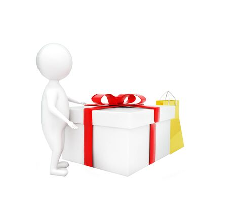 3d man presenting gift box and a shopping bag concept in white isolated background - 3d rendering , side angle view Foto de archivo - 133723820