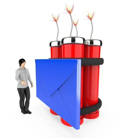 3d character , woman , fearfull , looking at a message  envelope tied to a lighted dynamite - 3d rendering Фото со стока