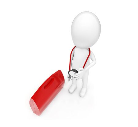 3d man with stethoscope standing near to red briefcase concept on white background - 3d rendering, top angle view