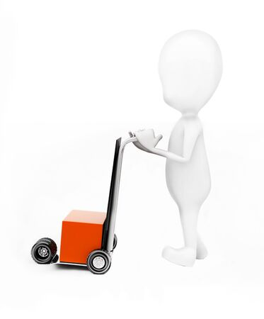 3d man moving a trolly with a cardboard box in it concept in white isolated background - 3d rendering , side angle view