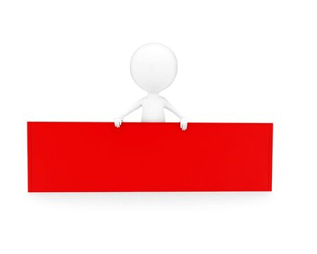 3d man presenting a red blank banner concept in white isolated background , front angle view Foto de archivo - 133723832