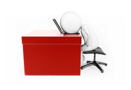 3d man lying his head over laptop which is placed over a desk concept in white isolated backround , side angle view Stock Photo
