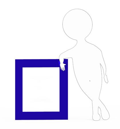 3d white with black edge stroke character leaning over a frame board isolated in white background Foto de archivo - 133723556