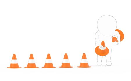 3d white - black outer lined character clearing or putting traffic cones concept- 3d rendering