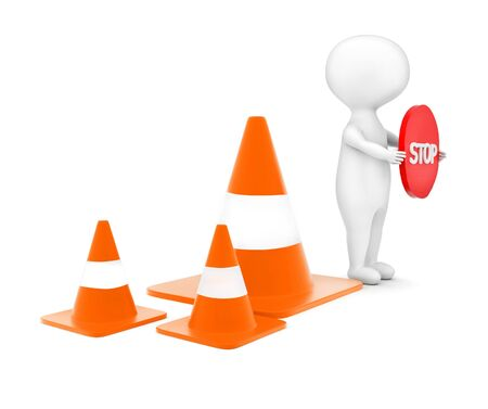 3d man holding a stop sign board in hand while standing near to a series of traffic cones concept in white isolated background - 3d rendering , side angle view