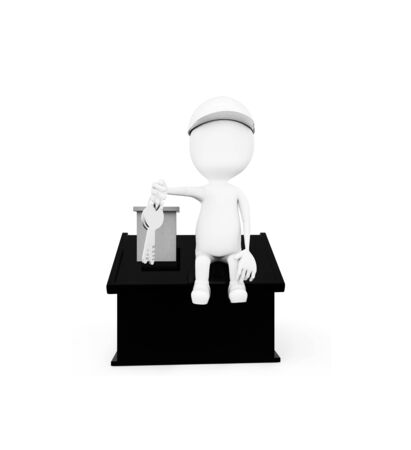 3d man wearing construction helmet and holding keys in hand while sitting on top of a miniature house concept in white isolated background , front angle view Stock Photo