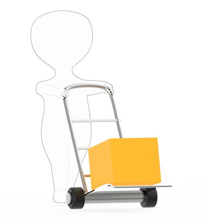 3d white - black outer lined character moving a trolley with cardboard box , 3d rendering