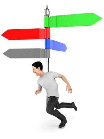 3d character , man running , arrow direction indicating post , empty , copyspace -3d rendering
