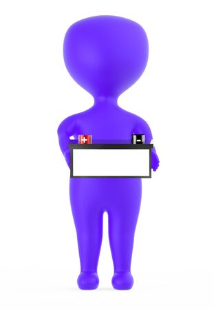 3d purple character holding a battery with red color positive and black color negative marking - 3d rendering