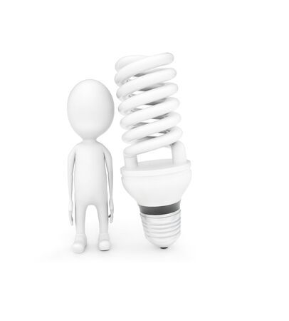 3d man and a CFL bulb on white background - 3d rendering , front angle view