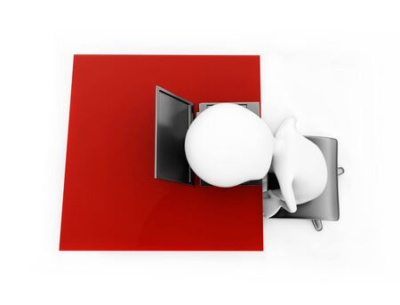 3d man lying his head over laptop which is placed over a desk concept in white isolated backround , top angle view