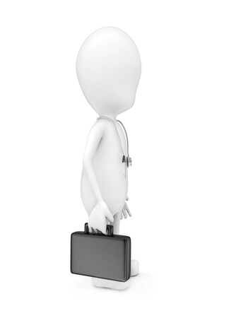 3d man holding a briefcase in hands and stethoscope in his shoulder concept in white isolated background - 3d rendering , side angle view Reklamní fotografie