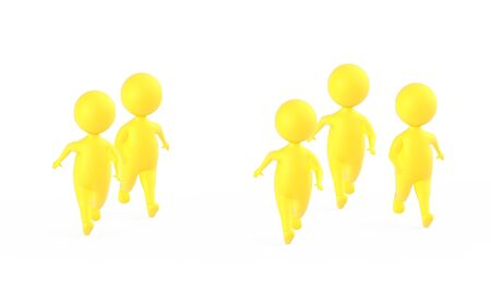3d yellow characters runners- 3d rendering