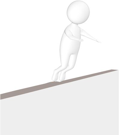 3d white character sliped and falling down from a narrow wall - 3d rendering 版權商用圖片