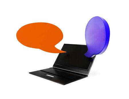 3d laptop with opposite speech bubbles concept in white isolated background , side angle view