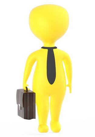 3d yellow business character holding a suitcase - 3d rendering
