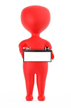 3d red character holding a battery with red color positive and black color negative marking - 3d rendering